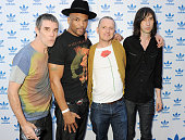 Ian Brown Darryl 'DMC' McDaniels Gary Aspden and Bobby Gillespie attend the launch of the adidas #Spezial exhibtion showcasing 600 pairs of adidas...