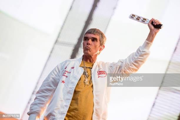 Ian Brown of the British iconic rock band The Stone Roses perform on stage at Wembley Stadium London on June 17 2017 The band consists in Ian Brown...