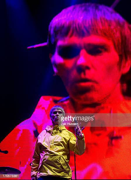 Ian Brown of The Stone Roses performs on day 2 of the Isle of Wight Festival at Seaclose Park on June 14 2013 in Newport Isle of Wight