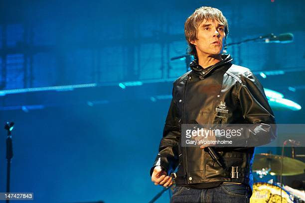 Ian Brown of The Stone Roses performs on stage at Heaton Park on June 29 2012 in Manchester United Kingdom
