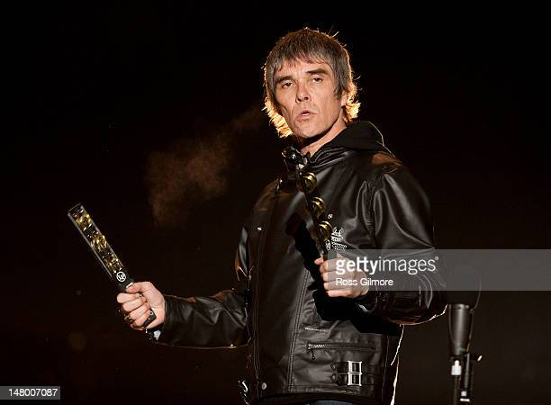 Ian Brown of The Stone Roses performs on stage during T In The Park Festival at Balado on July 7 2012 in Kinross United Kingdom