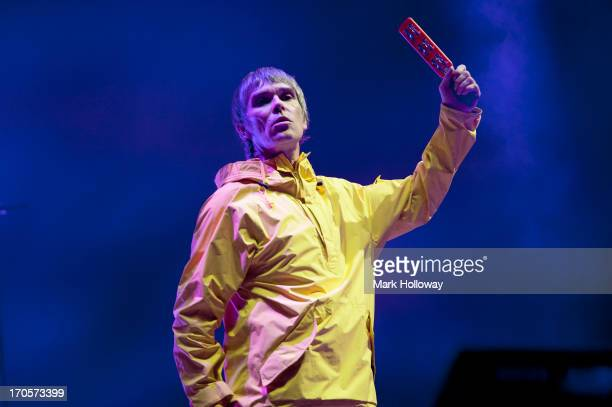 Ian Brown of The Stone Roses performs on stage on Day 2 of Isle Of Wight Festival 2013 at Seaclose Park on June 14 2013 in Newport Isle of Wight