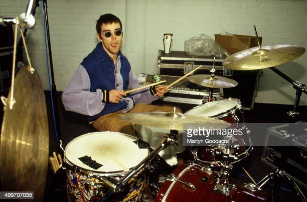 Ian Brown of The Stone Roses plays drums in a rehearsal studio in Manchester United Kingdom 1994