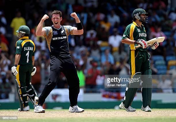 Ian Butler of New Zealand celebrtates the dismissal of Shahid Afridi during The ICC World Twenty20 Super Eight match between New Zealand and Pakistan...