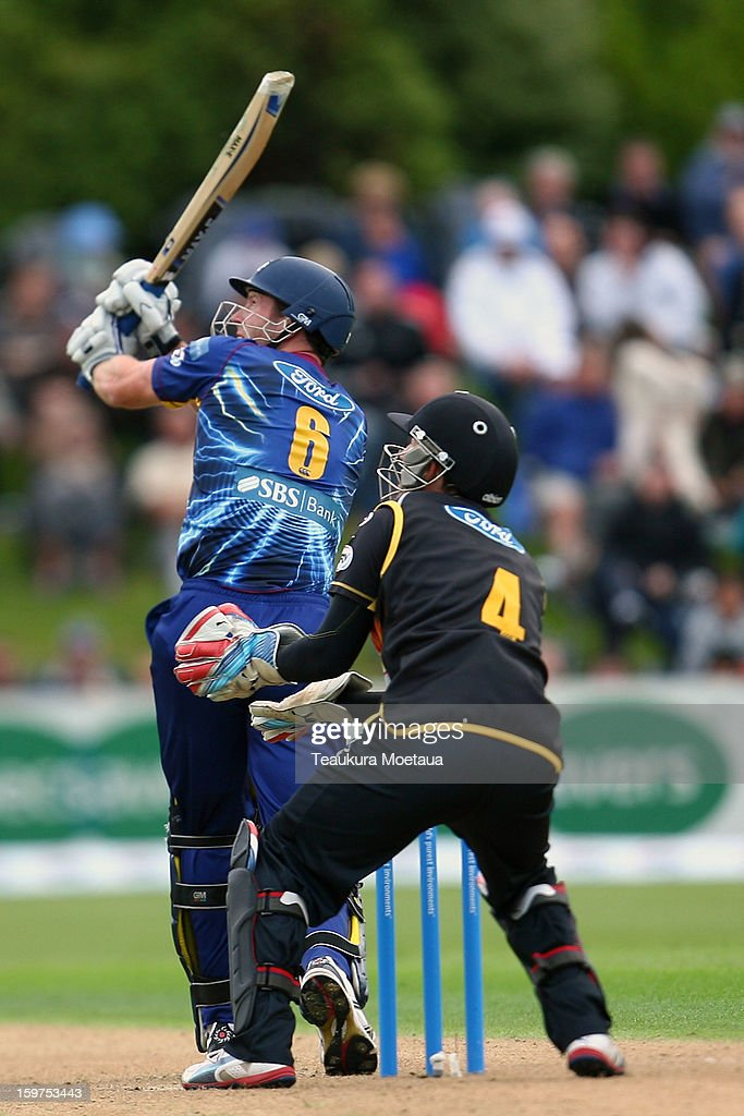 Ian Butler of Otago hits to the onside during the HRV T20 Final match between the Otago Volts and the Wellington Firebirds at University Oval on January 20, 2013 in Dunedin, New Zealand.