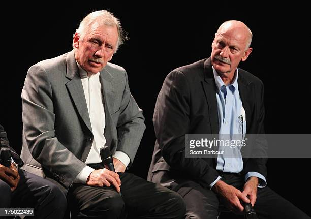 Ian Chappell former Australian captain and former Australian player Dennis Lillee speak on stage during the Official Launch of the ICC Cricket World...
