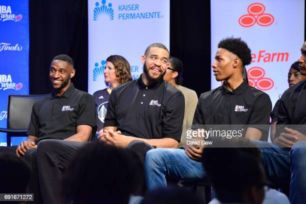 Ian Clark JaVale McGee and Patrick McCaw of the Golden State Warriors at the 2017 NBA Finals Cares Legacy Project as part of the 2017 NBA Finals on...