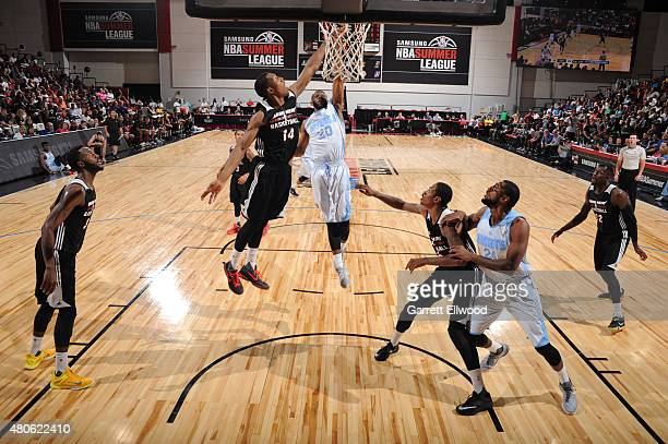 Ian Clark of the Denver Nuggets shoots against the Miami Heat on July 13 2015 at The Cox Pavilion in Las Vegas Nevada NOTE TO USER User expressly...