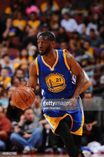 Ian Clark of the Golden State Warriors brings the ball up court against the Los Angeles Lakers during a preseason game on October 22 2015 at Honda...