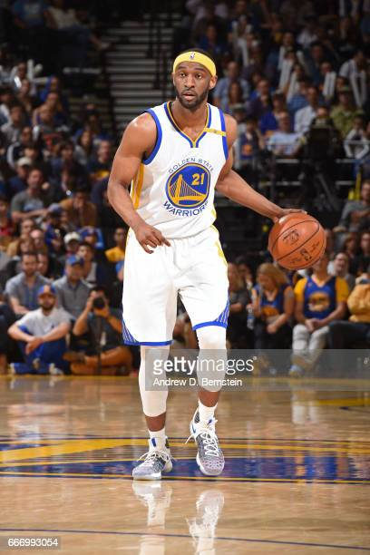 Ian Clark of the Golden State Warriors brings the ball up court during the game against the Houston Rockets on March 31 2017 at ORACLE Arena in...