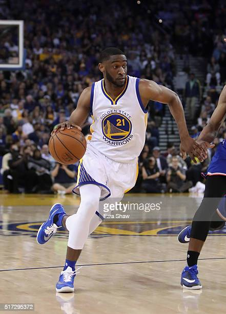 Ian Clark of the Golden State Warriors dribbles against the New York Knicks at ORACLE Arena on March 16 2016 in Oakland California NOTE TO USER User...