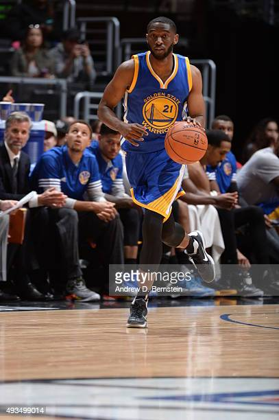 Ian Clark of the Golden State Warriors dribbles the ball against the Los Angeles Clippers on October 20 2015 at STAPLES Center in Los Angeles...