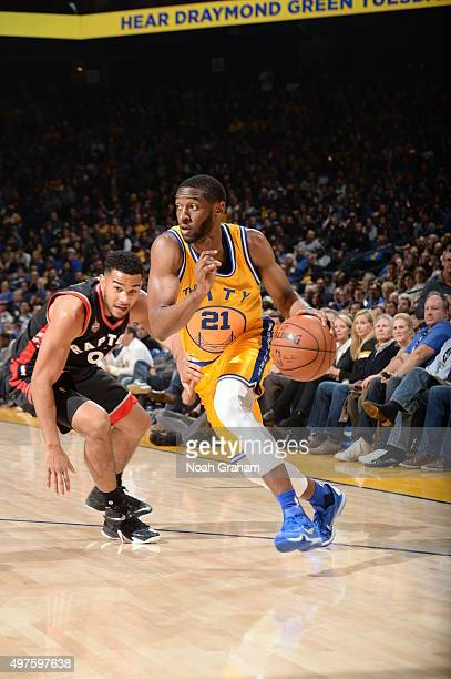 Ian Clark of the Golden State Warriors drives to the basket against the Toronto Raptors on November 17 2015 at Oracle Arena in Oakland California...