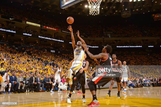 Ian Clark of the Golden State Warriors drives to the basket during the Western Conference Quarterfinals game against the Portland Trail Blazers...