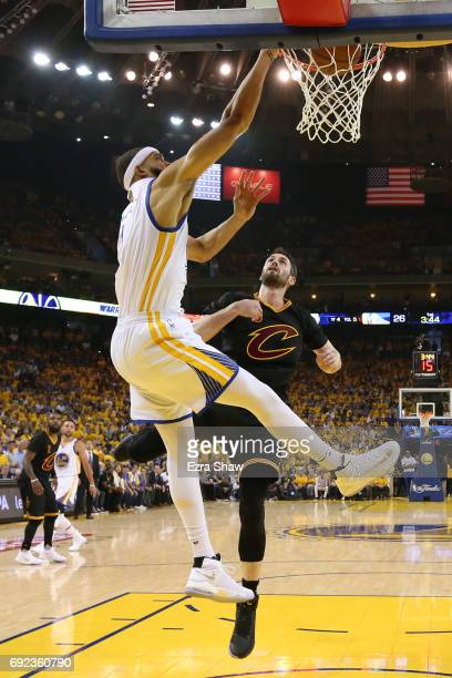 Ian Clark of the Golden State Warriors dunks the ball against the Cleveland Cavaliers during the first half in Game 2 of the 2017 NBA Finals at...