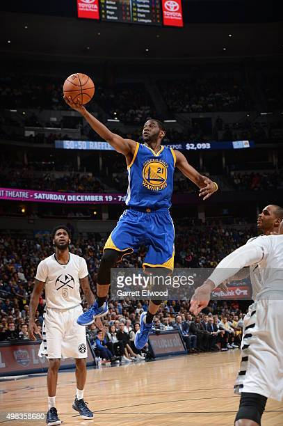 Ian Clark of the Golden State Warriors goes to the basket against the Denver Nuggets on November 22 2015 at the Pepsi Center in Denver Colorado NOTE...