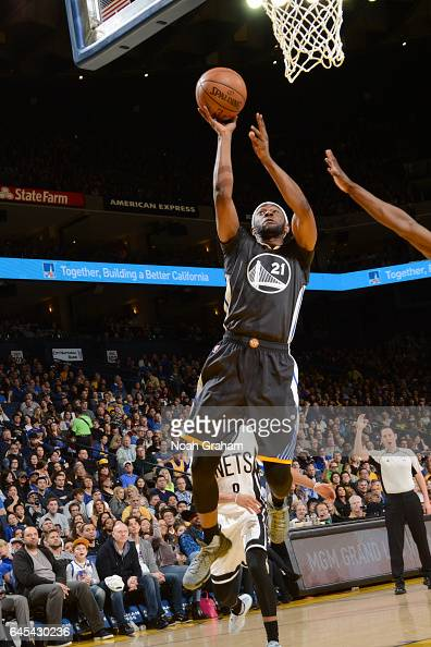 Ian Clark of the Golden State Warriors goes to the basket against the Brooklyn Nets on February 25 2017 at ORACLE Arena in Oakland California NOTE TO...