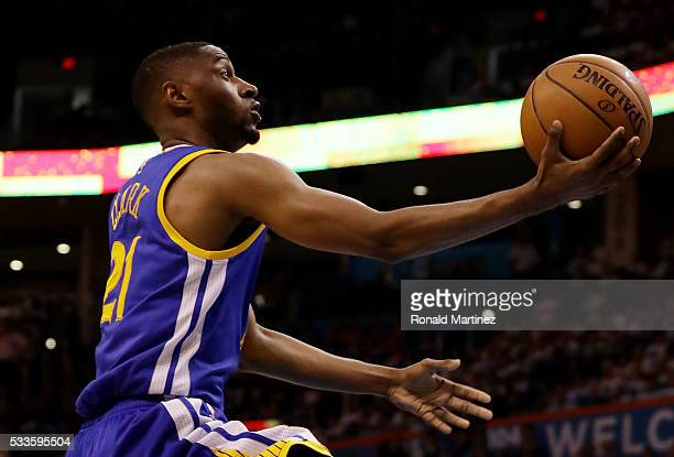 Ian Clark of the Golden State Warriors goes up against the Oklahoma City Thunder in the second quarter in game three of the Western Conference Finals...