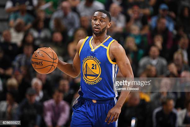 Ian Clark of the Golden State Warriors handles the ball against the Utah Jazz during the game on December 8 2016 at vivintSmartHome Arena in Salt...