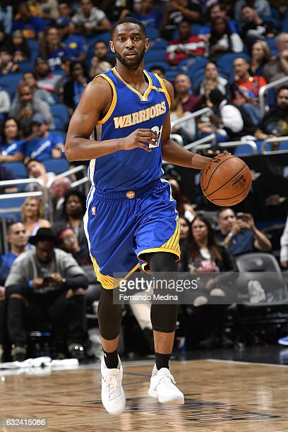 Ian Clark of the Golden State Warriors handles the ball against the Orlando Magic on January 22 2017 at Amway Center in Orlando Florida NOTE TO USER...