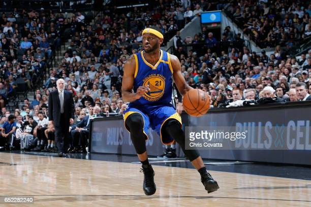 Ian Clark of the Golden State Warriors handles the ball against the San Antonio Spurs on March 11 2017 at the ATT Center in San Antonio Texas NOTE TO...