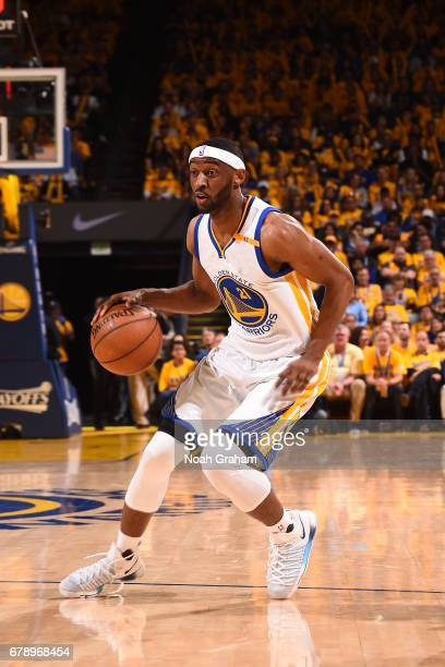 Ian Clark of the Golden State Warriors handles the ball against the Utah Jazz in Game Two the Western Conference Semifinals of the 2017 NBA Playoffs...
