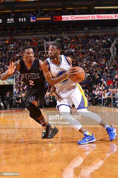Ian Clark of the Golden State Warriors handles the ball during the game against the Phoenix Suns on November 27 2015 at US Airways Center in Phoenix...
