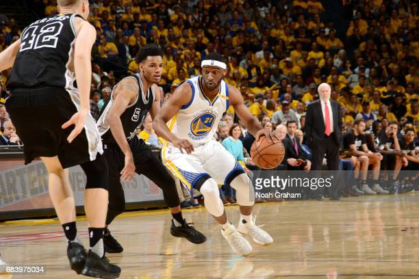 Ian Clark of the Golden State Warriors handles the ball during the game against the San Antonio Spurs during Game Two of the Western Conference...