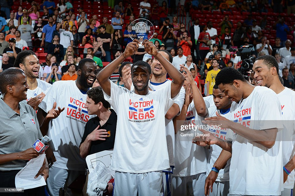 Ian Clark #21 of the Golden State Warriors holds his MVP Trophy after the game against the Phoenix Suns during NBA Summer League Championship Game on July 22, 2013 at the Cox Pavilion in Las Vegas, Nevada.