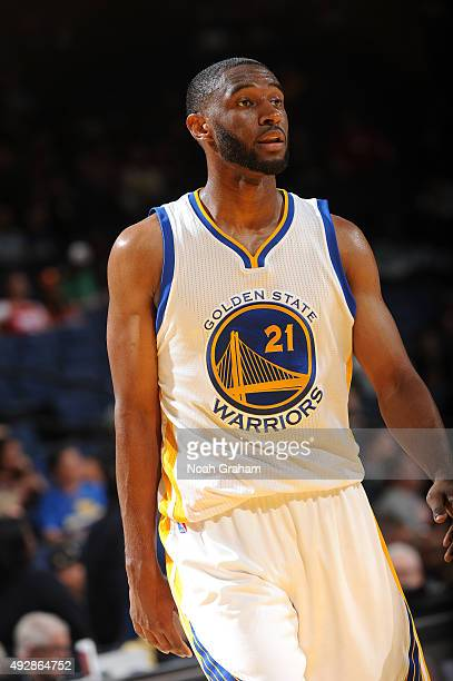 Ian Clark of the Golden State Warriors looks on during the game against the Houston Rockets on October 15 2015 at Oracle Arena in Oakland California...