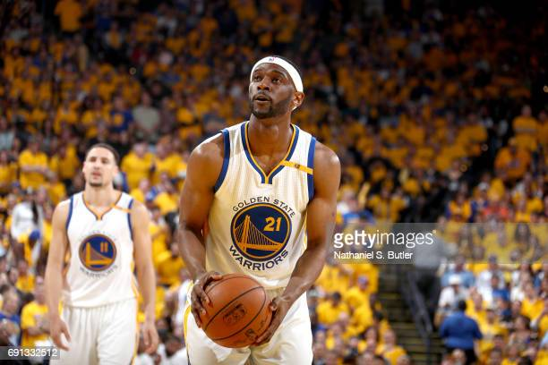 Ian Clark of the Golden State Warriors shoots a free throw against the Cleveland Cavaliers in Game One of the 2017 NBA Finals on June 1 2017 at...