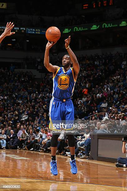 Ian Clark of the Golden State Warriors shoots the ball against the Minnesota Timberwolves on November 12 2015 at Target Center in Minneapolis...
