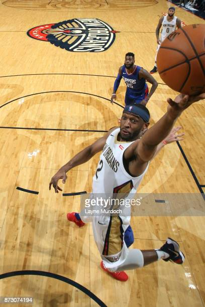 Ian Clark of the New Orleans Pelicans goes to the basket against the LA Clippers on November 11 2017 at Smoothie King Center in New Orleans Louisiana...