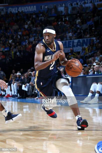 Ian Clark of the New Orleans Pelicans handles the ball during the game against the Oklahoma City Thunder during a preseason game on October 6 2017 at...