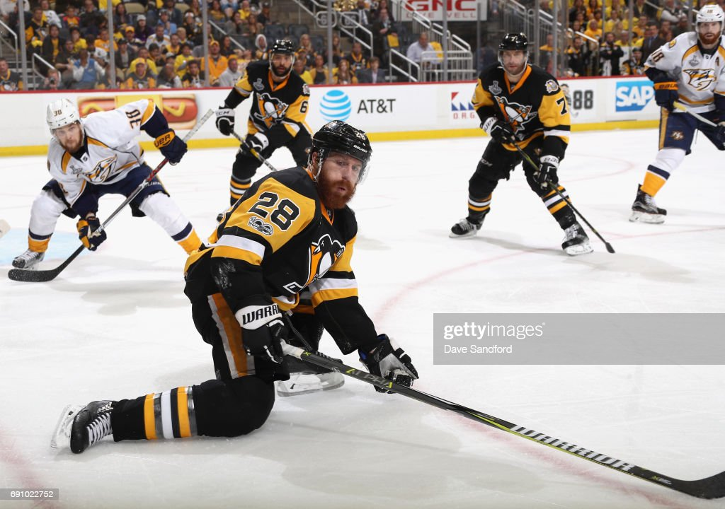 Ian Cole #28 of the Pittsburgh Penguins goes down to block a shot during the third period of Game Two of the 2017 NHL Stanley Cup Final against the Nashville Predators at PPG Paints Arena on May 31, 2017 in Pittsburgh, Pennslyvannia.