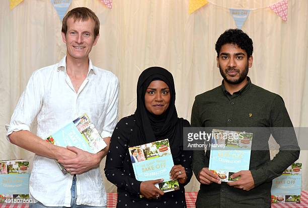 Ian Cumming Nadiya Hussain and Tamal Ray attend a book signing after the Great British Bake Off final at Waterstone's Piccadilly on October 8 2015 in...