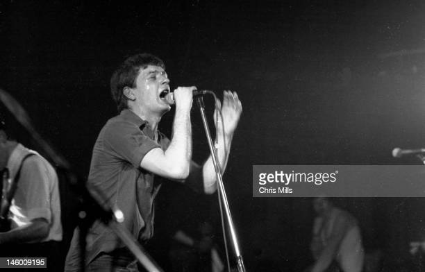 Ian Curtis of Joy Division performs on stage at the Rainbow Theatre London 4th April 1980