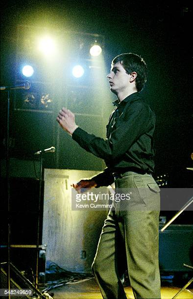Ian Curtis performing with English rock group Joy Division at Mountford Hall Liverpool University 2nd October 1979