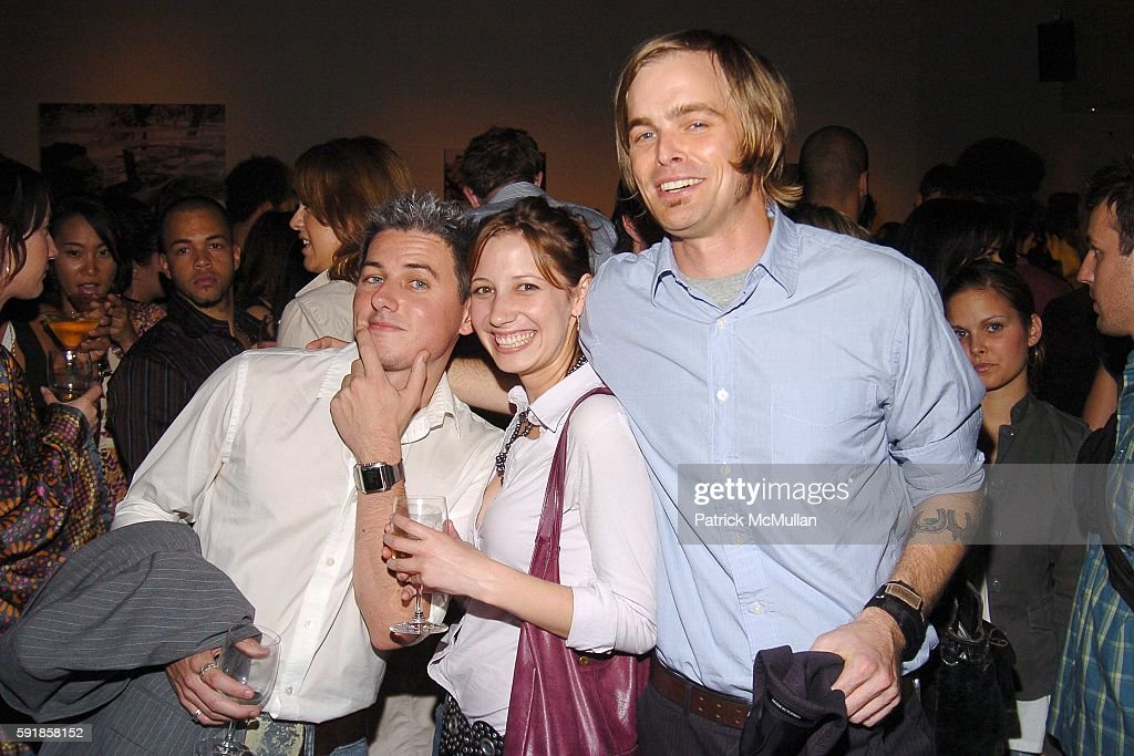 Ian Daly Megan Hughes and Bart Blasengame attend DETAILS and EMPORIO ARMANI '5 Years of Leading Men' Party at The Newspace on October 5 2005 in New...