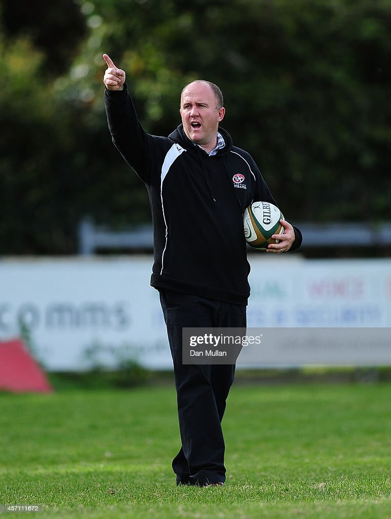 Ian Davies Head Coach of Cornish Pirates looks on ahead of the British Irish Cup match between Cornish Pirates and Bedford Blues at Mennaye Field on...