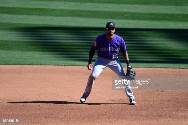 Ian Desmond of the Colorado Rockies in action during the spring training game against the Arizona Diamondbacks at Salt River Fields at Talking Stick...