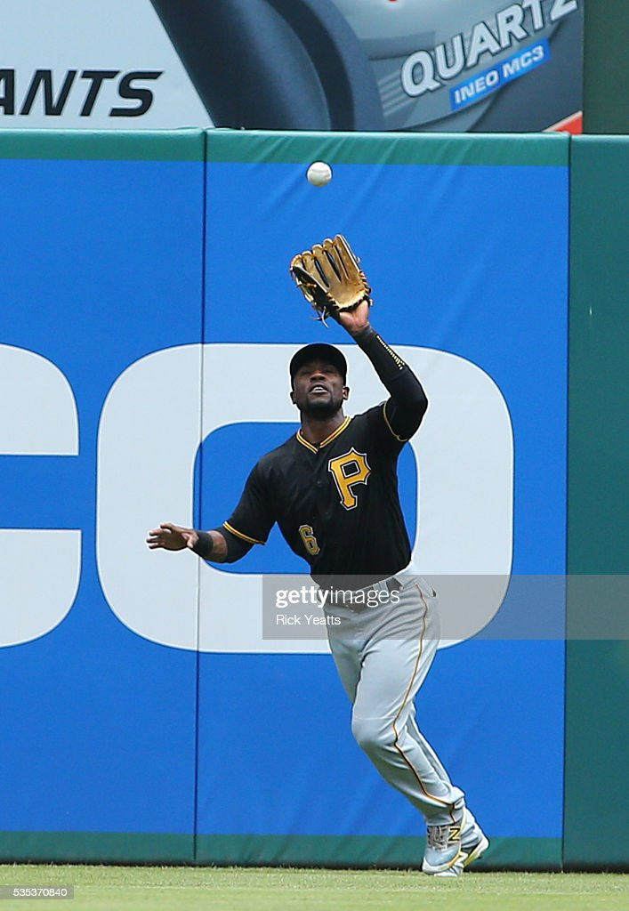 Ian Desmond #20 of the Texas Rangers flies out to Starling Marte #6 of the Pittsburgh Pirates in the first inning at Globe Life Park in Arlington on May 29, 2016 in Arlington, Texas.
