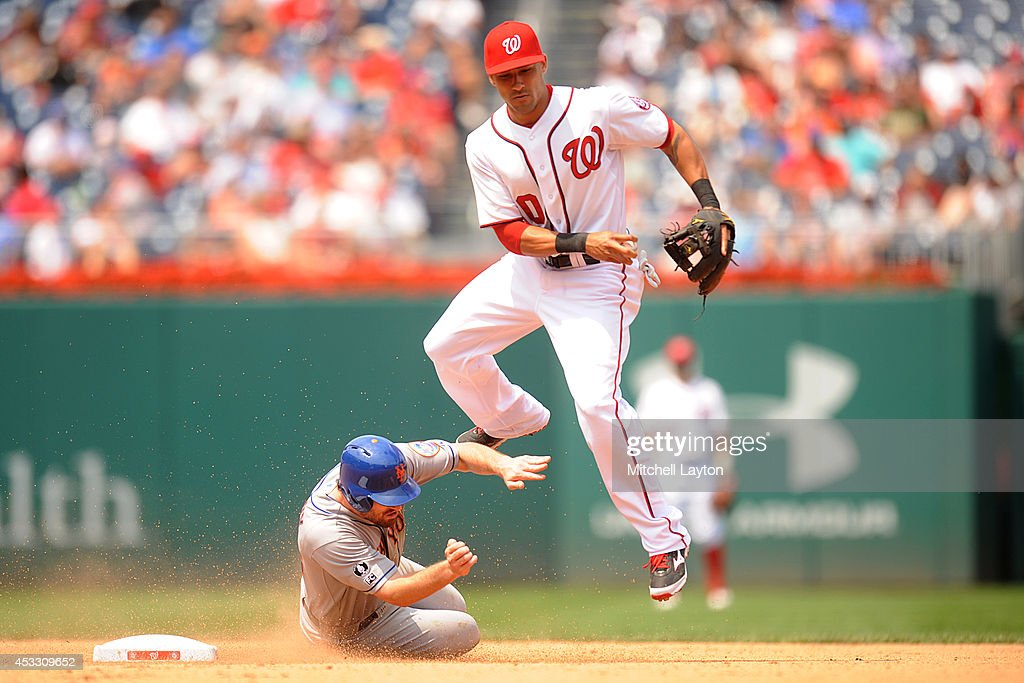 <a gi-track='captionPersonalityLinkClicked' href=/galleries/search?phrase=Ian+Desmond&family=editorial&specificpeople=835572 ng-click='$event.stopPropagation()'>Ian Desmond</a> #20 of the Washington Nationals forces out Daniel Murphy #28 of the New York Mets on a ball by David Wright #5 (not pictured) in the sixth inning during a baseball game on August 7, 2014 at Nationals Park in Washington, DC. The Nationals won6-3 in the 13th inning.