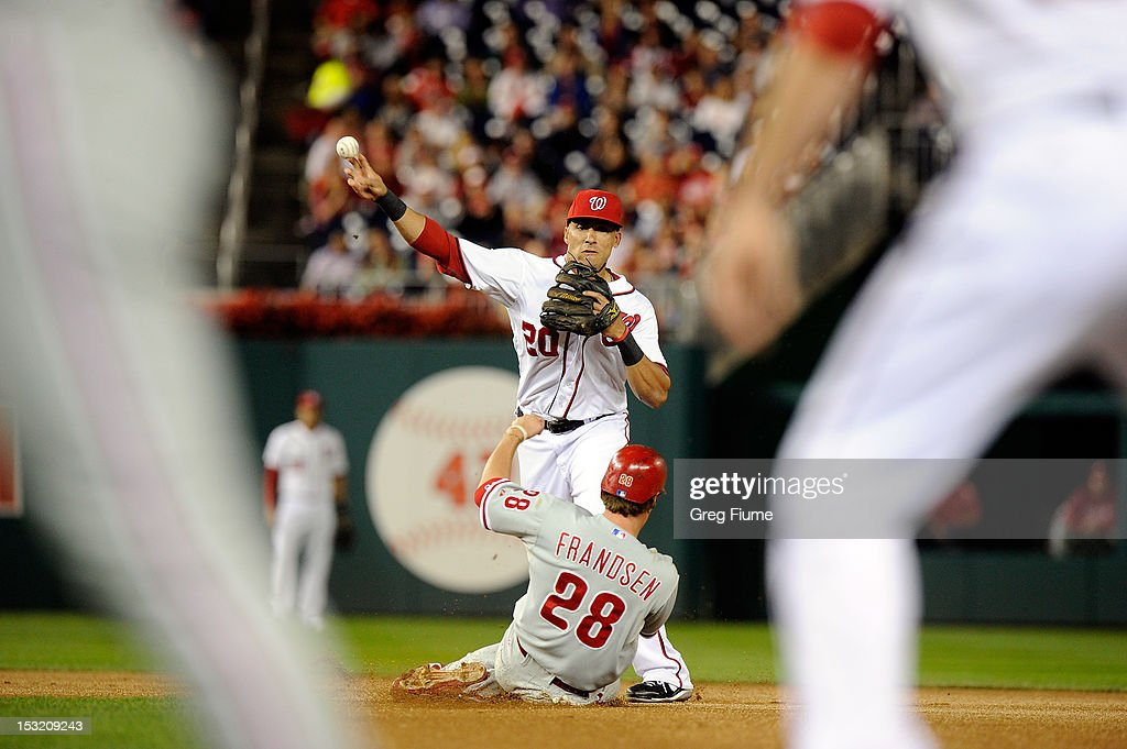 <a gi-track='captionPersonalityLinkClicked' href=/galleries/search?phrase=Ian+Desmond&family=editorial&specificpeople=835572 ng-click='$event.stopPropagation()'>Ian Desmond</a> #20 of the Washington Nationals forces out <a gi-track='captionPersonalityLinkClicked' href=/galleries/search?phrase=Kevin+Frandsen&family=editorial&specificpeople=3982842 ng-click='$event.stopPropagation()'>Kevin Frandsen</a> #28 of the Philadelphia Phillies to start a double play in the third inning at Nationals Park on October 1, 2012 in Washington, DC.