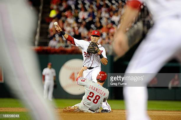 Ian Desmond of the Washington Nationals forces out Kevin Frandsen of the Philadelphia Phillies to start a double play in the third inning at...