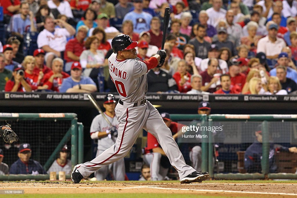 <a gi-track='captionPersonalityLinkClicked' href=/galleries/search?phrase=Ian+Desmond&family=editorial&specificpeople=835572 ng-click='$event.stopPropagation()'>Ian Desmond</a> #20 of the Washington Nationals hits a home run during a game against the Philadelphia Phillies at Citizens Bank Park on September 26, 2012 in Philadelphia, Pennsylvania.