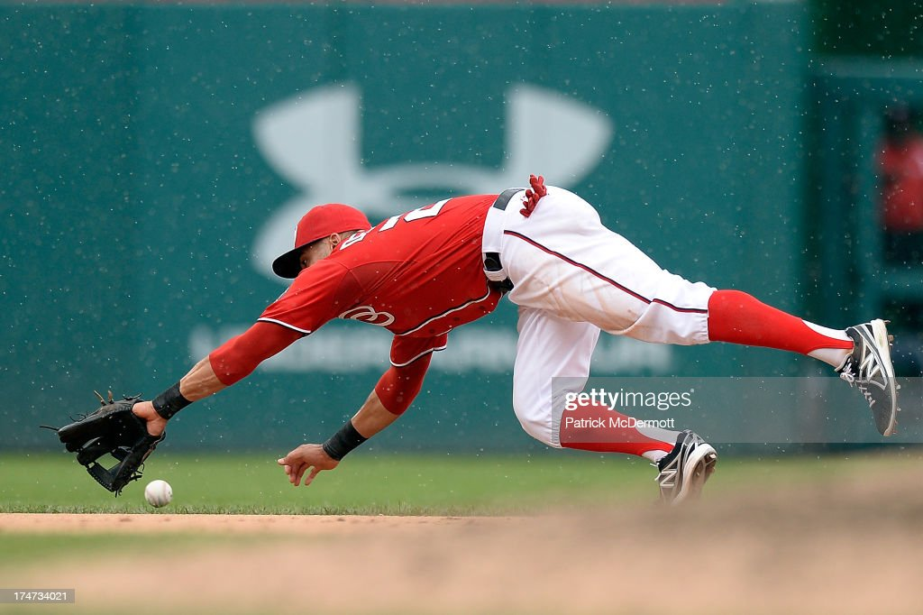 <a gi-track='captionPersonalityLinkClicked' href=/galleries/search?phrase=Ian+Desmond&family=editorial&specificpeople=835572 ng-click='$event.stopPropagation()'>Ian Desmond</a> #20 of the Washington Nationals is unable to catch a single hit by Juan Lagares #12 of the New York Mets in the ninth inning during a game at Nationals Park on July 28, 2013 in Washington, DC.
