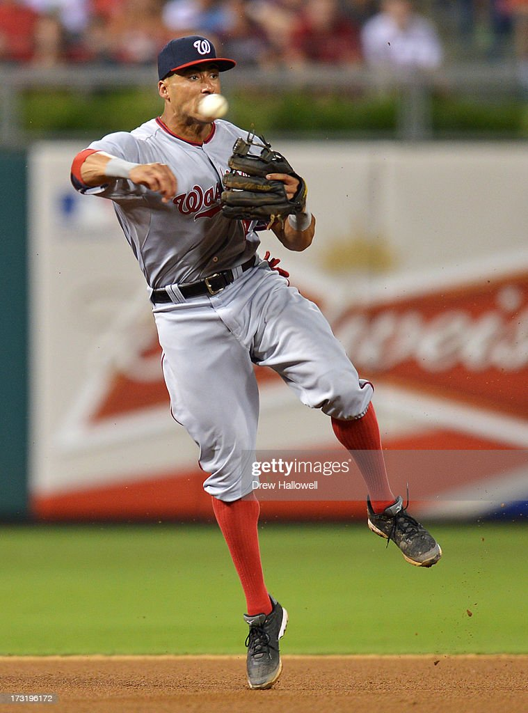 <a gi-track='captionPersonalityLinkClicked' href=/galleries/search?phrase=Ian+Desmond&family=editorial&specificpeople=835572 ng-click='$event.stopPropagation()'>Ian Desmond</a> #20 of the Washington Nationals makes a throw to first for an out in the seventh inning against the Philadelphia Phillies at Citizens Bank Park on July 9, 2013 in Philadelphia, Pennsylvania. The Phillies won 4-2.