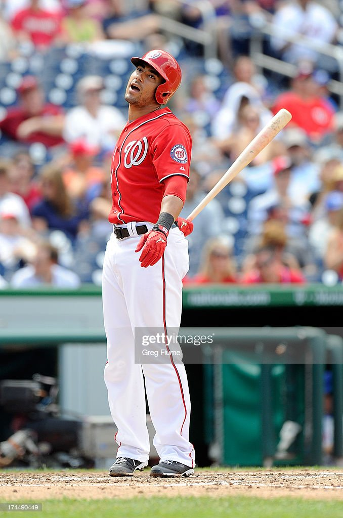 <a gi-track='captionPersonalityLinkClicked' href=/galleries/search?phrase=Ian+Desmond&family=editorial&specificpeople=835572 ng-click='$event.stopPropagation()'>Ian Desmond</a> of the Washington Nationals reacts after striking out in the sixth inning against the New York Mets at Nationals Park on July 26, 2013 in Washington, DC. New York won the game 11-0.