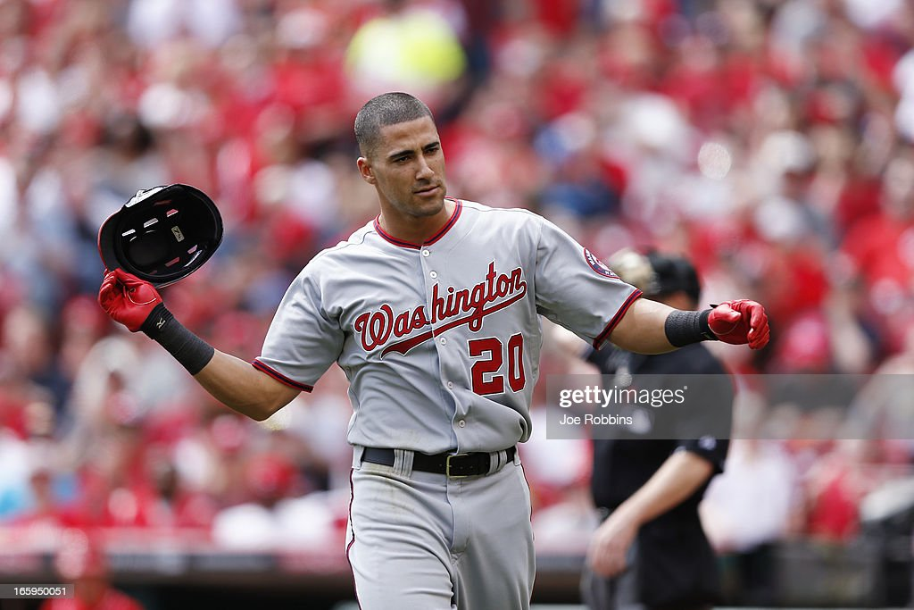 Ian Desmond #20 of the Washington Nationals reacts after striking out against the Cincinnati Reds during a game at Great American Ball Park on April 7, 2013 in Cincinnati, Ohio.